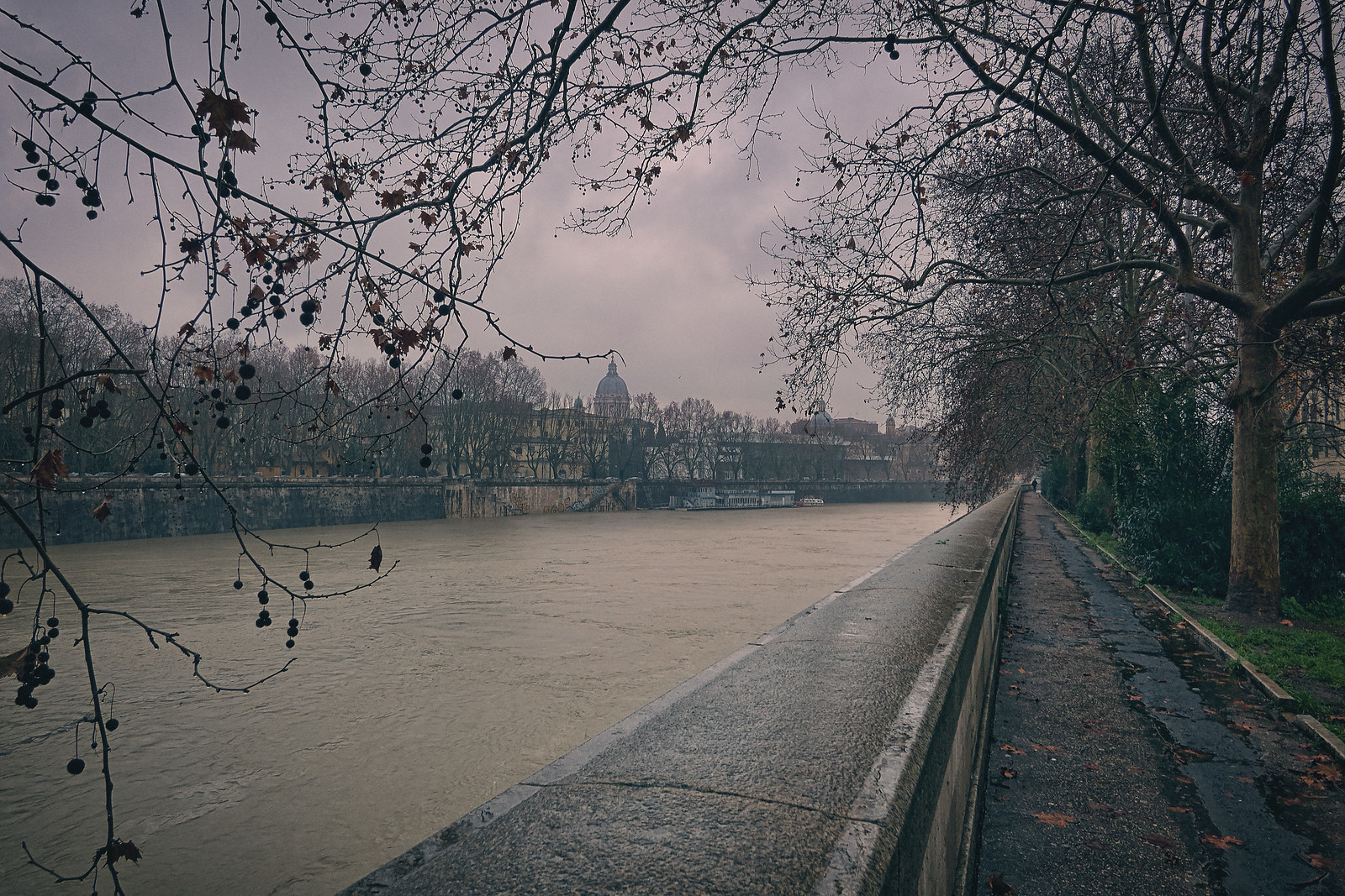 Flooding at the Tiber River Rome Italy