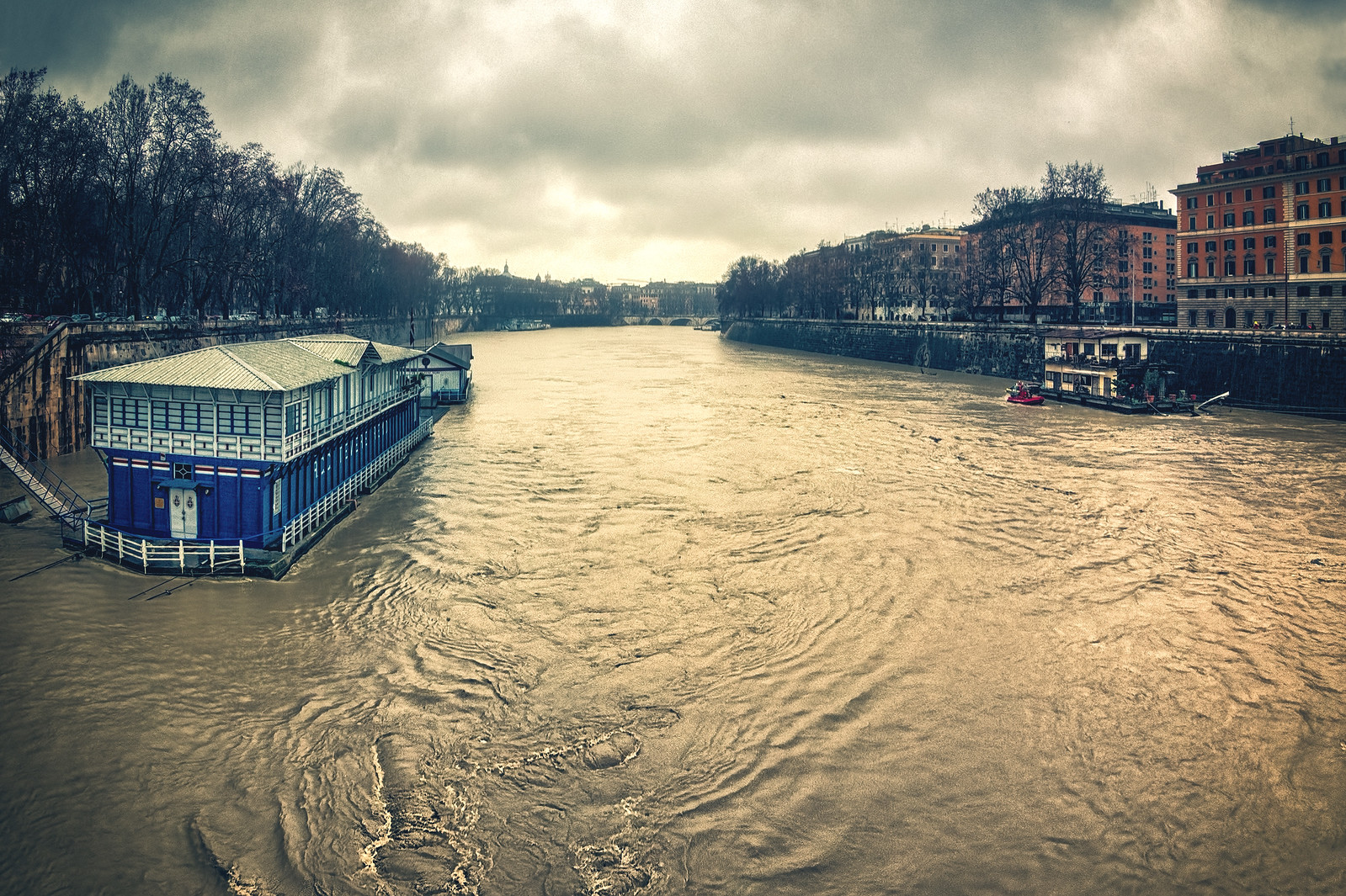 Flooding of the Tiber River Rome Italy