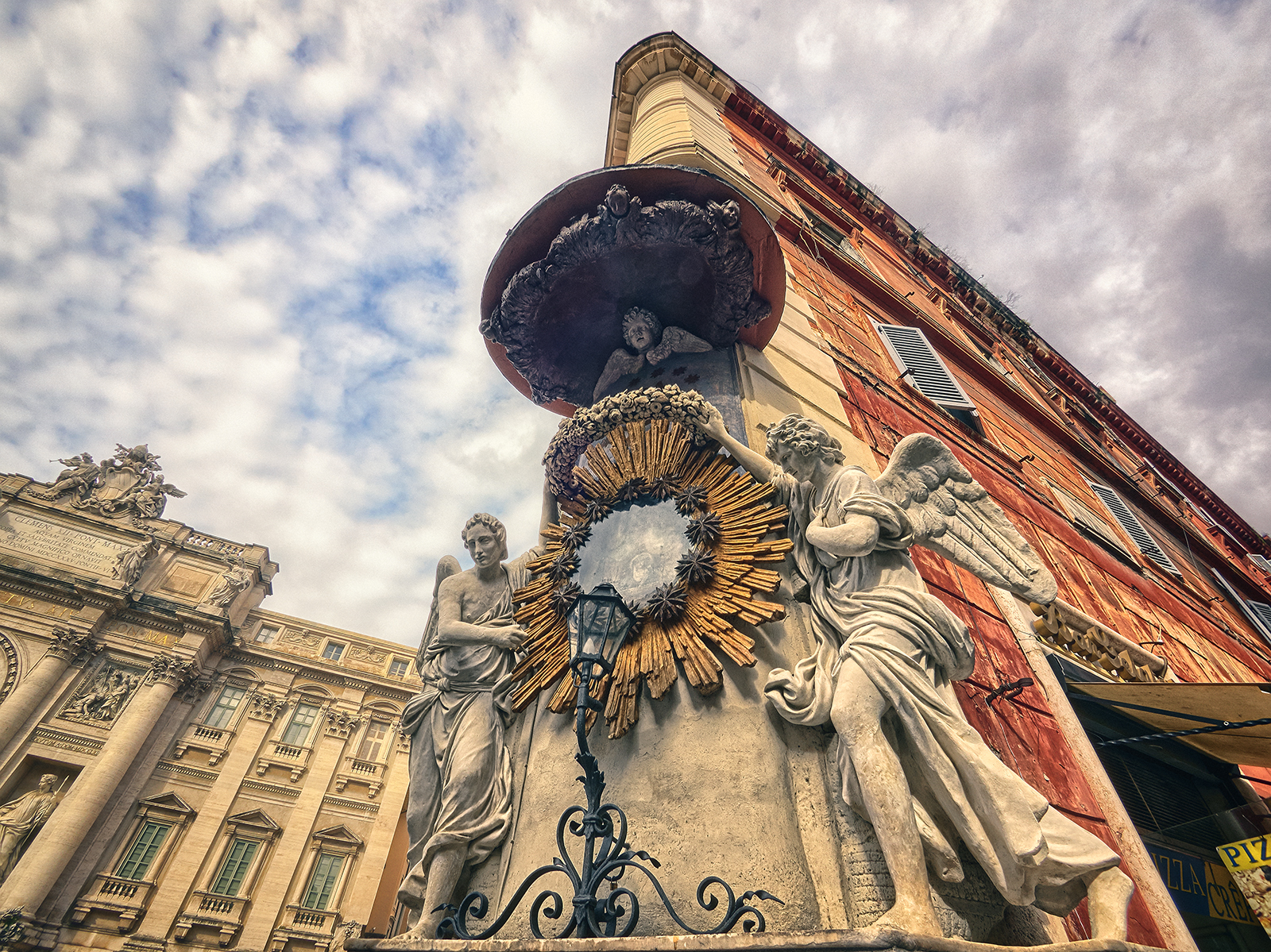Sculptures by Trevi Fountain Rome Italy