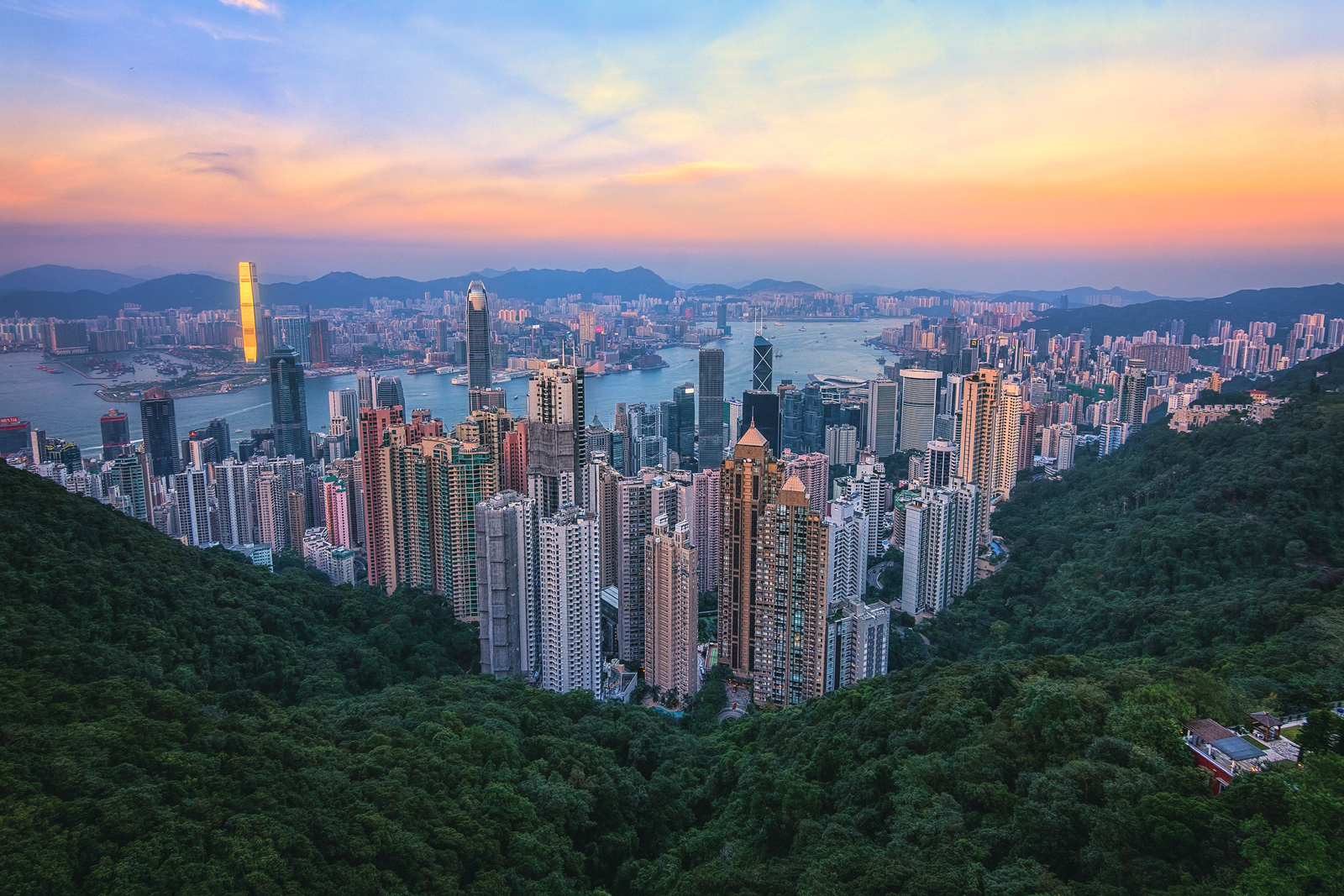 Sunset View from The Peak Hong Kong