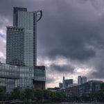 Dark Cloudy Skies at the Streets of Frankfurt Germany